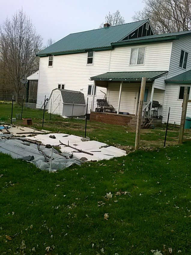 Here is the bed with tarps, cardboard, and even metal trying to cover / kill the grass.