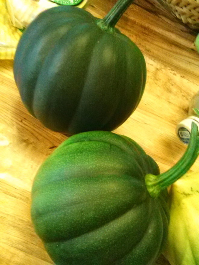 Acorn squash.  Yum! We love eating them roasted with cinnamon sugar and butter.