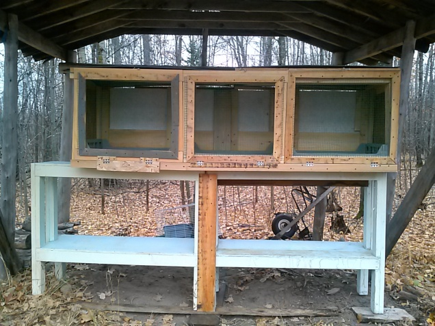 Here is our completed Hutch.  It is on top of some old fish tank stands my dad made.