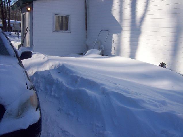 snow by door